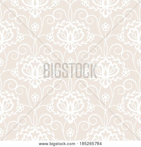 Seamless beige and white lace background with floral pattern
