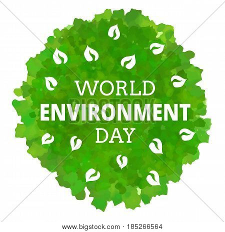 World Environment Day logo. Leaves with text isolated on white