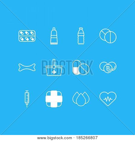 Vector Illustration Of 12 Medical Icons. Editable Pack Of Antibiotic, Plastic Bottle, Painkiller And Other Elements.