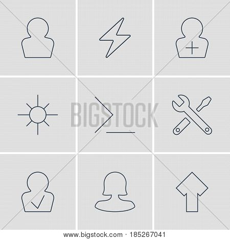 Vector Illustration Of 9 User Interface Icons. Editable Pack Of Upward, Sunshine, Female User And Other Elements.