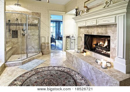 opulent bathroom with fireplace