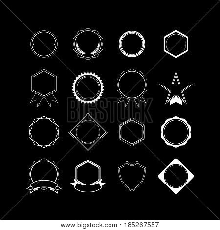 Collection of colorless decorative Border Frames, medals, awards badge with Clear Background for label or web designs. Vector illustration isolated on black