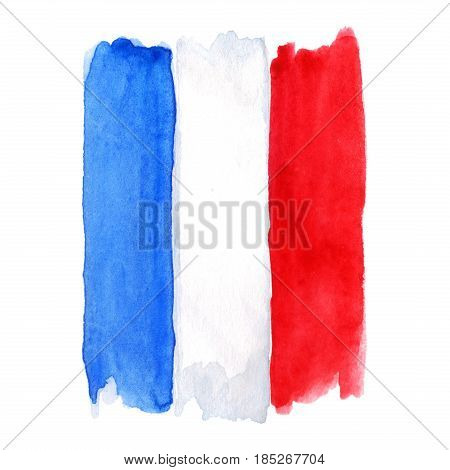Watercolor France French flag 3 three color isolated