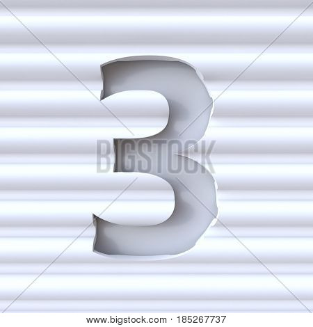Cut Out Font In Wave Surface Number 3 Three 3D