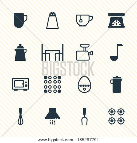 Vector Illustration Of 16 Kitchenware Icons. Editable Pack Of Barbecue Tool, Mincer, Mug And Other Elements.