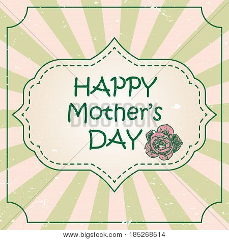 Happy Mother's Day concept with pink rose flower and lettering typography with burst on a retro textured background. Vector illustration for cards, banners, print