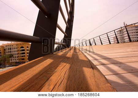 Bridge. Popular wooden bridge. San Pedro de Alcantara, Marbella, Andalusia, Spain.