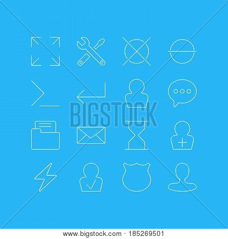 Vector Illustration Of 16 User Interface Icons. Editable Pack Of Guard, Register Account, Hourglass And Other Elements.