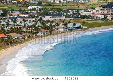 overview of beach and resort, st kitts, caribbean