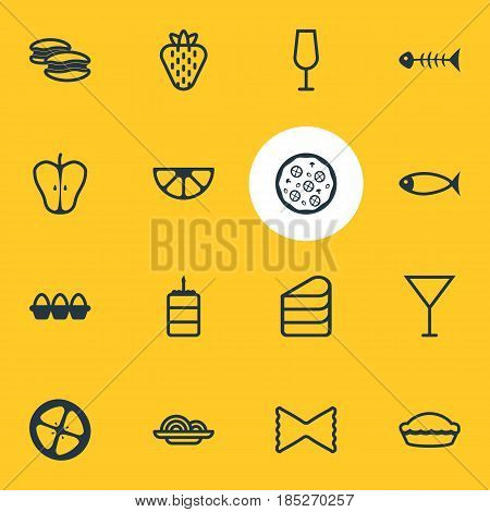 Vector Illustration Of 16 Eating Icons. Editable Pack Of Jonagold, Sweet Berry, Skeleton And Other Elements.