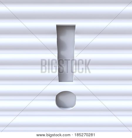 Cut Out Font In Wave Surface Punctuation Mark Exclamation Mark 3D