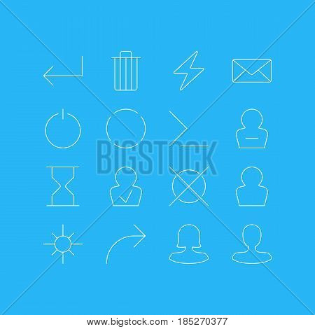 Vector Illustration Of 16 UI Icons. Editable Pack Of Share, Cancel, Repeat And Other Elements.
