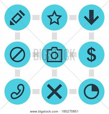 Vector Illustration Of 9 Interface Icons. Editable Pack Of Asterisk, Pen, Wrong And Other Elements.