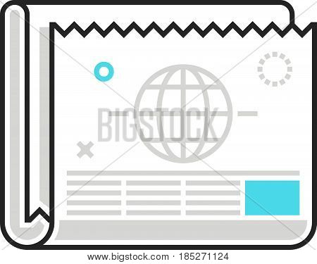 Color Box Newspaper Icon, Background And Graphics