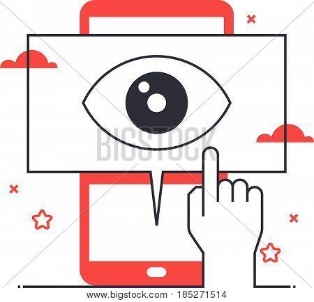 Multi Tone Icon, Mobile Marketing Background And Graphic
