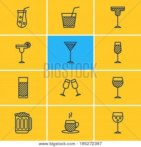 Vector Illustration Of 12  Icons. Editable Pack Of Draught, Champagne, Tea Cup And Other Elements.