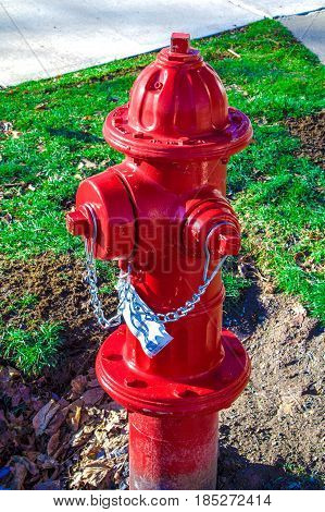 Up close winter exterior daytime picture of red metal fire hydrant with green grass and cement sidewalk in the background.