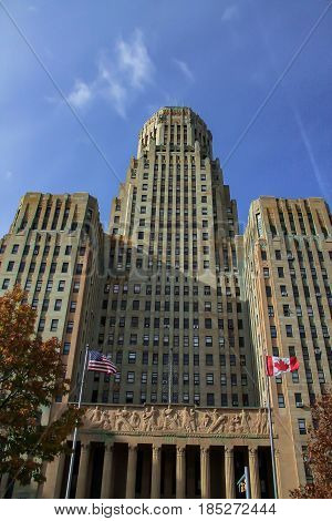 Exterior daytime stock photo of Buffalo, New York City Hall on cloudless summer day in Erie County