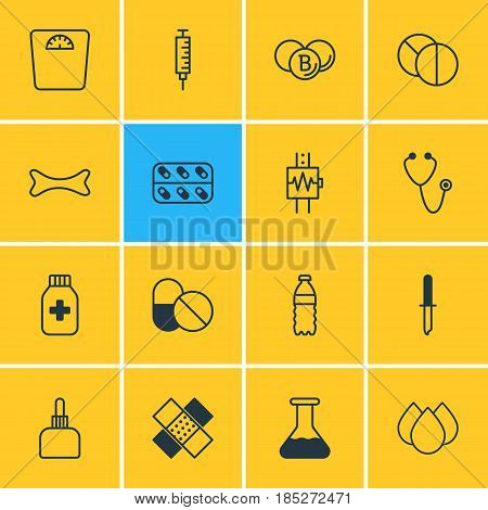 Vector Illustration Of 16 Medical Icons. Editable Pack Of Trickle, Antibiotic, Pulse And Other Elements.