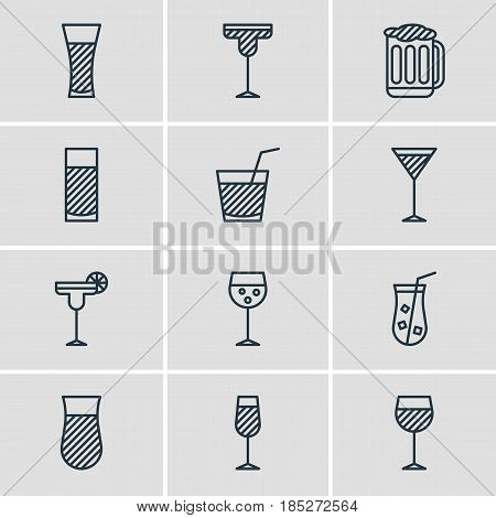 Vector Illustration Of 12 Beverage Icons. Editable Pack Of Goblet, Wineglass, Lemonade And Other Elements.
