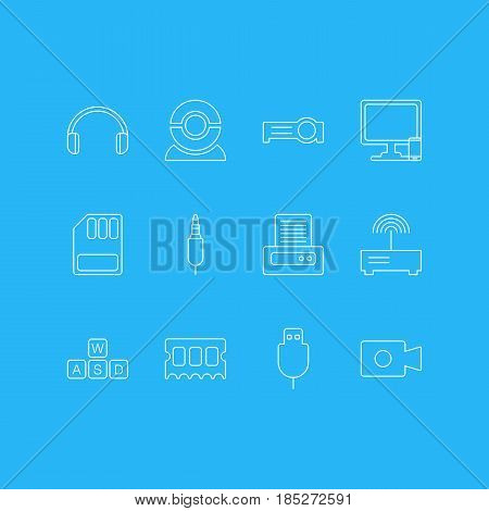 Vector Illustration Of 12 Laptop Icons. Editable Pack Of Web Camera, Phone Near Computer, Printer And Other Elements.