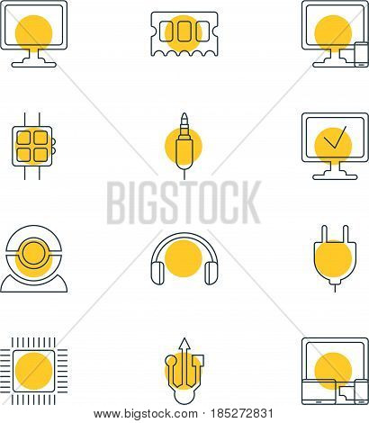Vector Illustration Of 12 Computer Icons. Editable Pack Of Usb Icon, Input Jack, Screen And Other Elements.