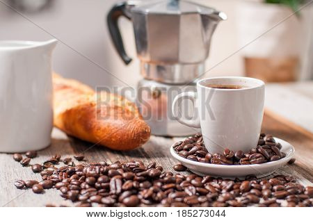 Italian Coffee Maker For Espresso And Cup Of Coffee