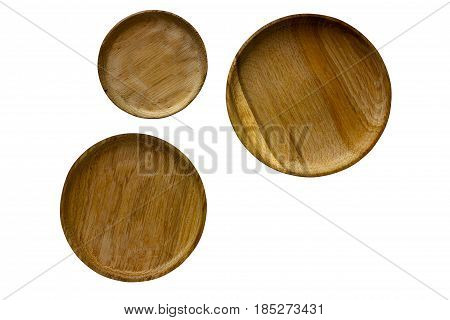 Three wooden, small tableware dish, isolated on a white background, oak round