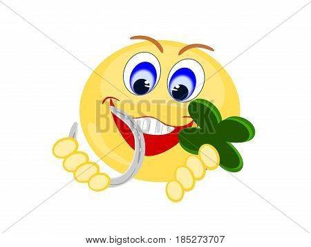 Emoji yellow smiling holding silver horse shoe and four leaf clover for good luck