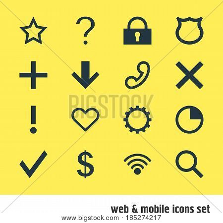 Vector Illustration Of 16 User Icons. Editable Pack Of Wrong, Alert, Downward And Other Elements.
