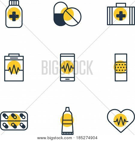 Vector Illustration Of 9 Health Icons. Editable Pack Of Tube, Treatment, Band Aid Elements.