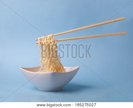 Asian Traditional Dish - Noodle Ramen With Chopsticks