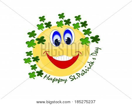 Emoji yellow happy facial expression surrounded by green four leaf clovers with text at bottom of Happy St. Patrick's Day