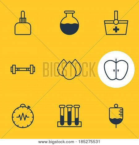 Vector Illustration Of 9 Medicine Icons. Editable Pack Of Trickle, Pressure Gauge, Medicament Pitcher And Other Elements.