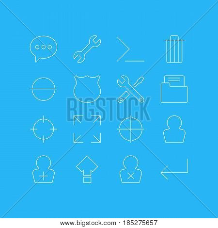 Vector Illustration Of 16 Interface Icons. Editable Pack Of Screen Capture, Register Account, Displacement And Other Elements.