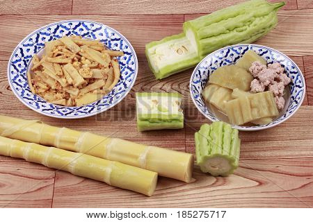 Fried Bamboo Shoots With Egg ,chinese Bitter Gourd With Meat Ball .