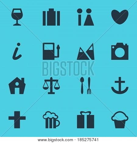 Vector Illustration Of 16 Travel Icons. Editable Pack Of Wineglass, Heart, Beer Mug And Other Elements.