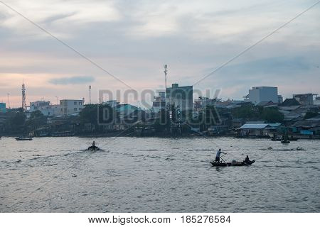 CAN THO,VIETNAM - 03 May, 2017: Unidentified people on floating market in Mekong river delta. Cai Rang and Cai Be markets are very popular among the local citizens and tourists