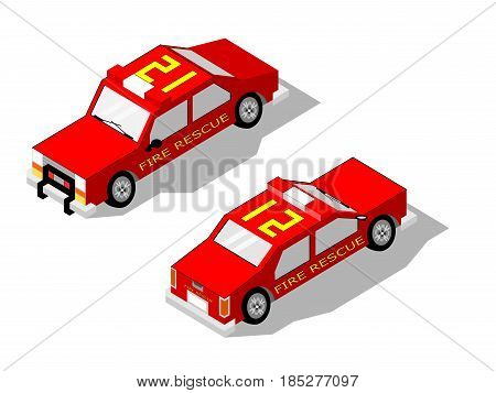 Isometric isolated two fire rescue cars with drop shadow and front and rear views