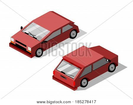 Isometric isolated maroon hatchback car with drop shadow