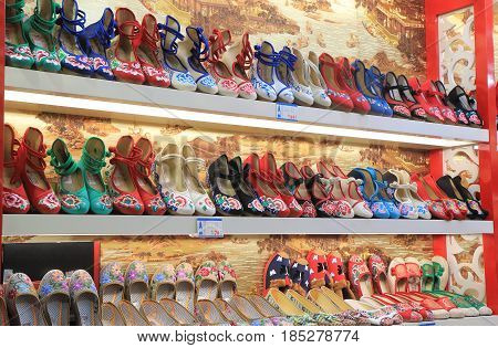 HANGZHOU CHINA - NOVEMBER 5, 2016: Traditional shoe shop on Qing He Fang historical street. is a protected area of the historical buildings from the Ming and Qing dynasty.