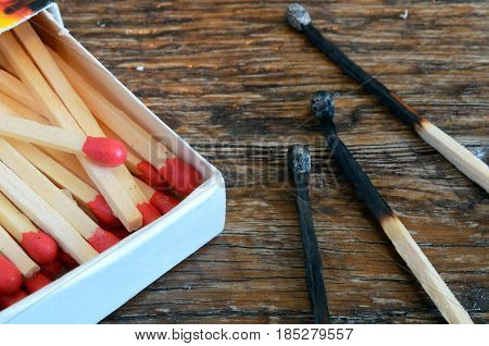 A top view image of a box of wooden camping matches and three burnt matches.