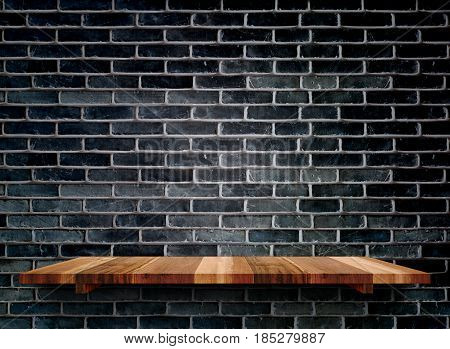 Empty Wooden Shelfs On Black Brick Wall, Mock Up Template For Display Of Product