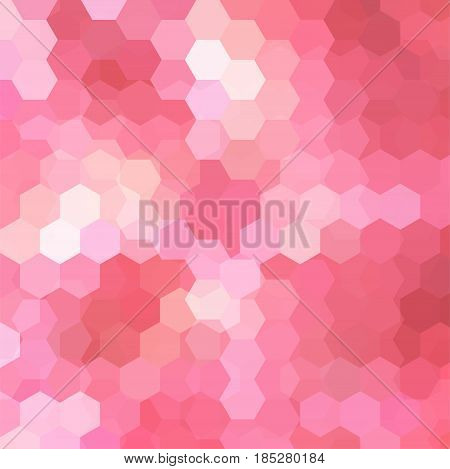 Geometric Pattern, Vector Background With Hexagons In Pink Tones. Illustration Pattern