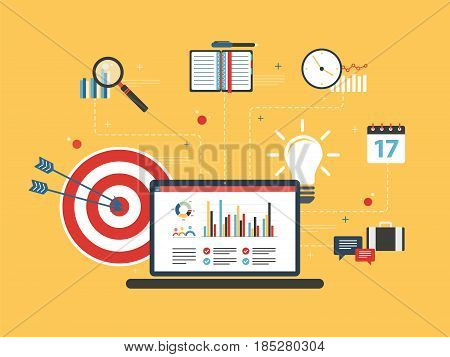 Laptop with business data and chart of finance on screen. Target and lamp bulb in flat design vector illustration. Concept of success business financial investment with growth report.