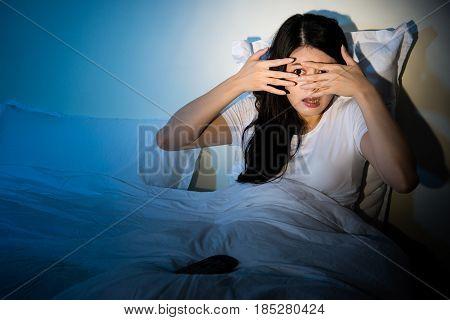 Girl Watching Horror Movie Cove Her Eyes