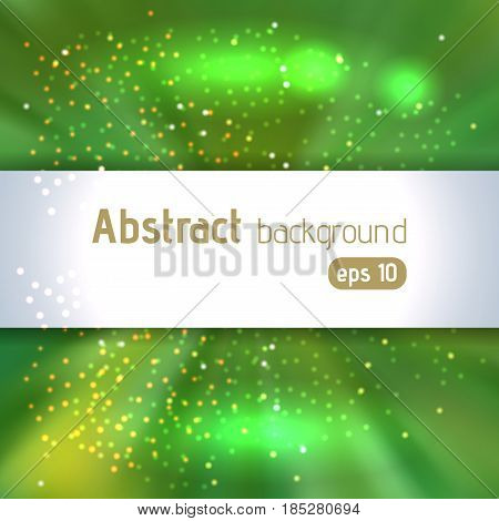 Vector Illustration Of Green Abstract Background With Blurred Magic Light Rays, Vector Illustration.