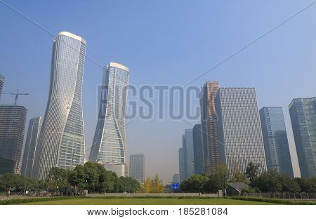 Jiangjin raod business district cityscape Hangzhou China