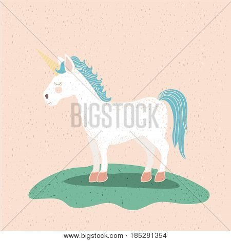 colorful background with unicorn of mane and tail blue vector illustration