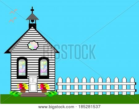 Church White flat design with picket fence blue sky and flowers scene